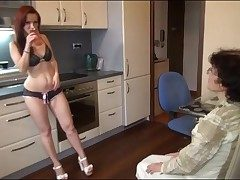Young chick in sexy drawers strapon fucks grandma