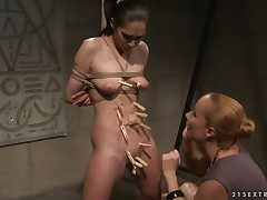 Grown up Carrmen with successful breasts gets her soaked