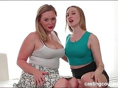 Curvy hotty on the casting sofa for lezzy hump