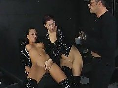 Threesome in the basement with black spandex girls