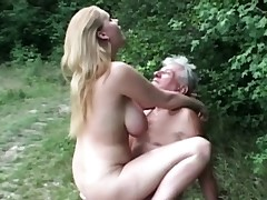 All-natural monstrous jugged slut nails granddad in the woods
